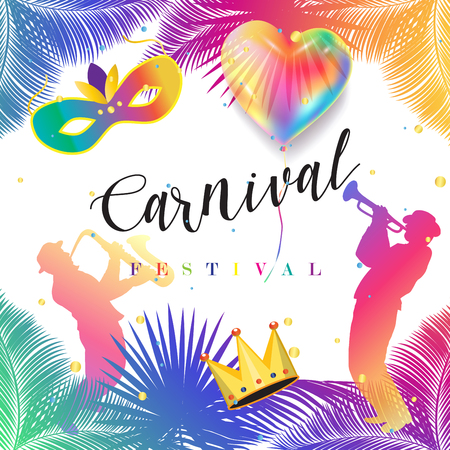 Purim Jewish Holiday festive poster. Carnival vector. Carnival symbols Holiday decoration, banner, flyer, template.