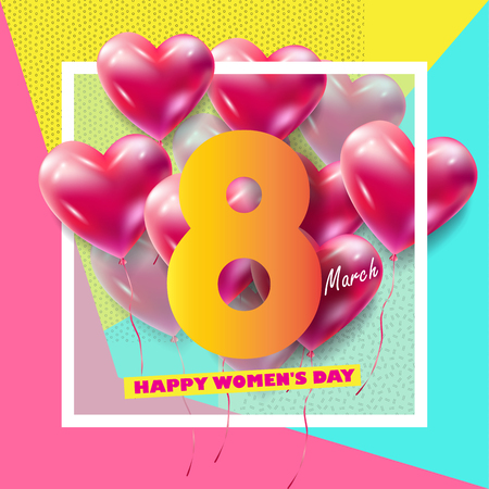 8 March Happy Womens Day. Eighth March Greeting card. 8th march international womens day Spring Holiday. Futuristic, modern design. Vector illustration