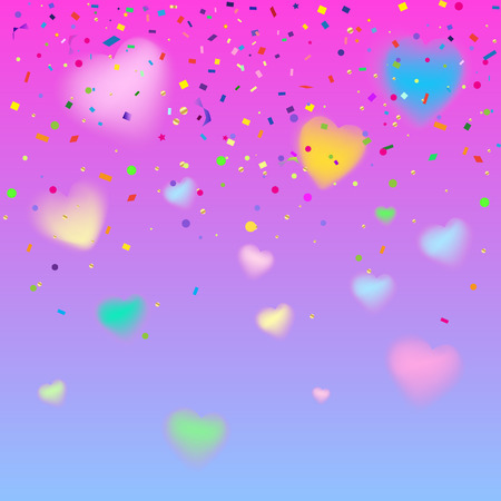 8 March abstract background with blurred heart and confetti. Holiday festive decoration Vector template