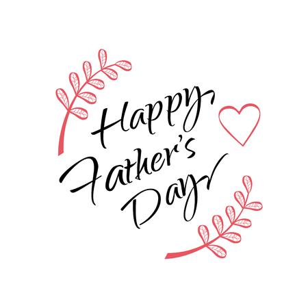 Gelukkige Vaderdag geschenk kaart met kalligrafie letters, bloemen ornament op witte achtergrond. Vaderdag print. Typografie Stock Illustratie