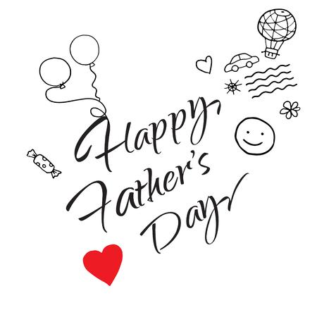 Gelukkig vaders dag geschenk kaart vector sjabloon. Belettering, kalligrafie. Kinderkunst, kindertekening. illustratie Stock Illustratie