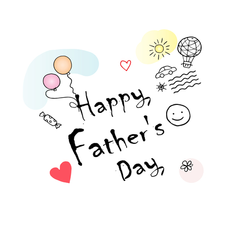 Happy Fathers Day gift card vector illustration. Hand Drawn, doodle style. Kids drawing. Childrens Art Illustration