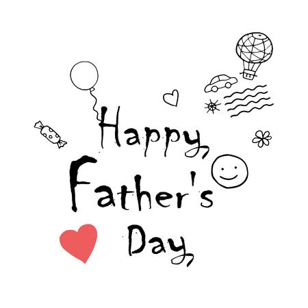 Kinderkunst Happy Father's Day belettering met zon, glimlach, harten, snoep, ballonnen en bloemen, vectorillustratie. Doodle, patroon, geschenk, sjabloon Stock Illustratie