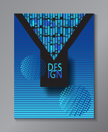 Blue Abstract minimal design background. Technical Concept Design for business brochure layout, modern cover, annual report,  industrial poster, futuristic banner with geometric dynamic shapes, lines texture, pattern. Illustration
