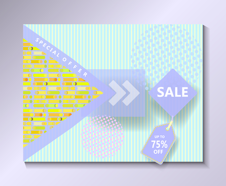 memphis: Sale discount gift card, voucher, banner, poster. Modern Minimal design template. Vector. Dynamic shapes and lines pattern.