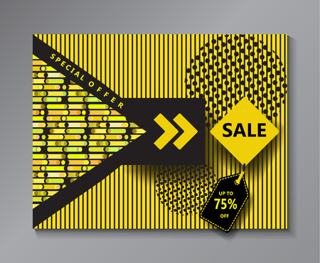 memphis: Sale banner, price tag. Modern minimal design. Yellow and black color dynamic geometric shapes pattern. Trendy stylish design. Fashion, Print, Art, Web.