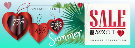 Tropical vector, Summer Sale banner with price tags, 3D hearts, palm leaves, blue sky. Gift card vector illustration, sales discount banner, voucher template.