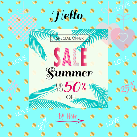 Beautiful Hello Summer Sale banner. Vintage style. Palm leaves tropical frame, polka dots pattern, hearts background. Vector template. Advertising