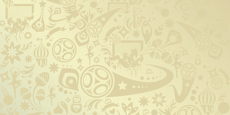 Abstract football background, Russian folk art elements. Vector banner. Football dynamic geometric shapes and lines decorative  pattern.