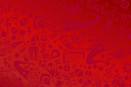 Football Abstract red background with Russian folk art and soccer symbols decorative elements pattern. Russia Soccer player, soccer ball, award, goal icon, floral elements. Dynamic shapes vector 2018 soccer wallpaper, sport.