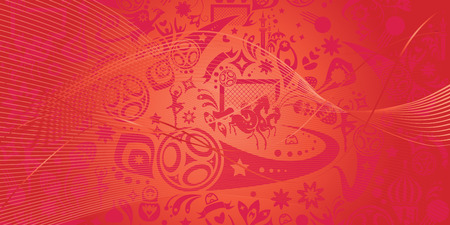 Abstract football red background, Russian folk art elements. Russia, Vector banner. Football dynamic shapes and lines decorative red color pattern. Illustration