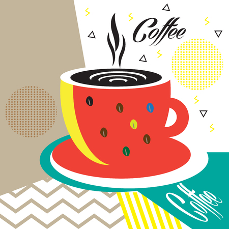 Cafe menu cover futuristic minimal design, Espresso gift card, price tag, envelope, poster, texture. Coffee cup, hot coffee mug, Geometric dynamic shapes, Hipster design pattern Vector