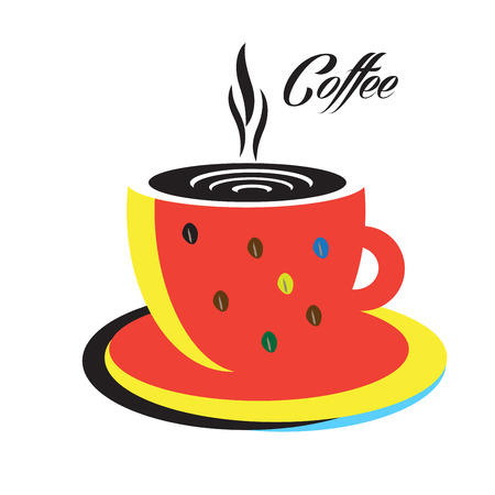 Coffee cup logo. Espresso hot Coffee cup Abstract modern design. Red coffee mug on white background. Vector illustration.