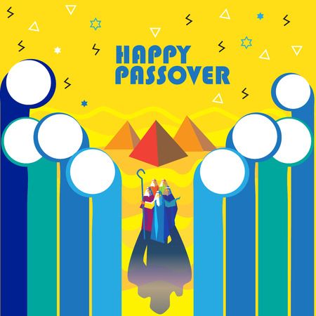 Happy Passover Jewish Holiday abstract greeting card, poster. Vector