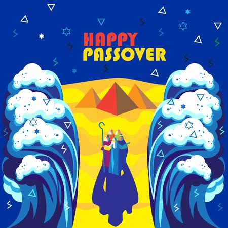 Carte de voeux abstraite Happy Passover. Style futuriste. Passover Jewish Holiday affiche décorative avec Moïse et les vagues de la mer, le ciel, les pyramides égyptiennes. Illustration vectorielle