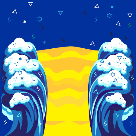 jewish: Passover Abstract art landscape sea waves, blue sky and stars for Jewish Passover Holiday design. Vector Illustration