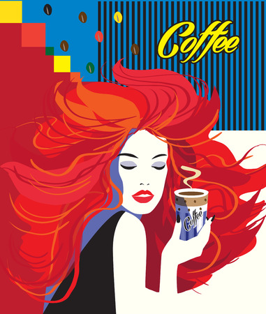 Coffee Pop Art poster with Beautiful women drinking cafe cup. Menu cover, Espresso coffee mug, advertising, promotion concept design. Hipster style, Minimal, geometric, coffee beans, lines, Memphis. Abstract colorful background, red, blue, yellow color.