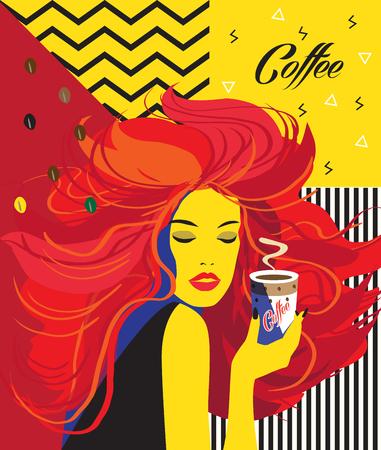Mooi meisje drinken koffie kop poster. Pop Art jonge vrouw. Abstract modern kunst logo, menu ontwerp, vector illustratie Logo