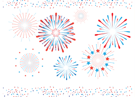 Fireworks and confetti in American flag color. Red and Blue Fireworks illustration isolated on white background. Festive banner for celebrate American Holiday, Memorial day, Labor Day.