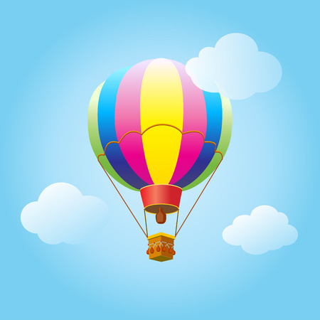 Cartoon Flat design, Hot air balloon in the sky with clouds background. Air balloon, flying. Vector illustration