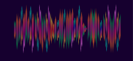 Abstract wallpaper with sound waves, multicolored dynamic shapes, lines, motion effect. Hipster style, backdrops, web banner vector template Stock Illustratie