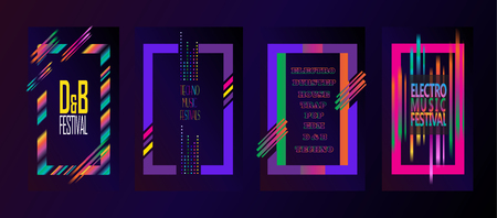 Abstract modern music brochure covers, posters, flyers, backdrops concept design. Set of Futuristic Disco wallpapers with abstract dynamic shapes frames, geometric multicolored borders with motion effect. Hipster modern Vector template.