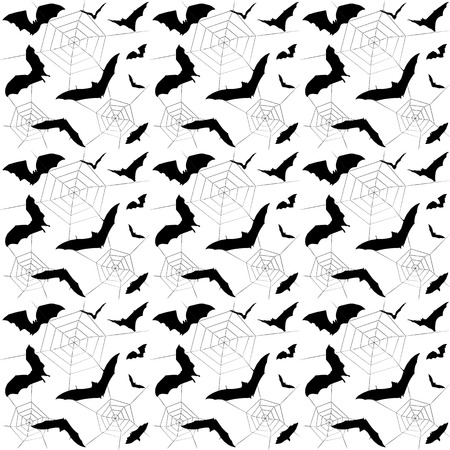 Halloween bat and spiders web silhouette seamless pattern. Halloween party modern background, Black and white. Fabric print,