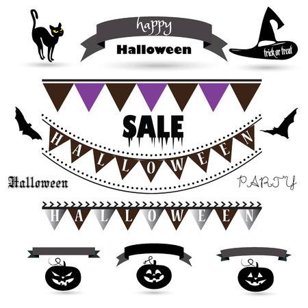 silueta de gato: Halloween symbols, ribbon banners, garland, Halloween hat, cat, pumpkin, bats decorative elements for Halloween Party design. Vector Halloween decoration.