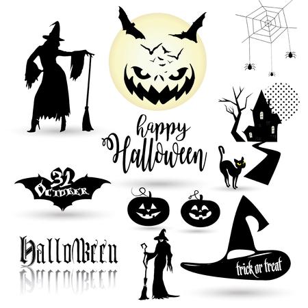 Papel tapiz de Halloween con símbolos de Halloween. Logotipo de la linterna de la calabaza de Halloween, icono del palo, silueta de la mujer de la bruja, casa del cazador, gato, cara sonriente de la calabaza, insignia mágica del sombrero, luna llena con los palos, arañas aisladas y más. Halloween iconos para el truco o