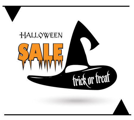 Halloween sale abstract banner, Halloween Sale advertising poster design with Halloween Hat logo and lettering. Halloween party Vector illustration.