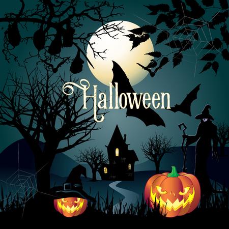 Halloween ilustración vectorial. Invitación mágica de la noche del partido de Halloween. Tarjeta de Halloween, pancarta, volante, póster, fondo. Foto de archivo - 83809367