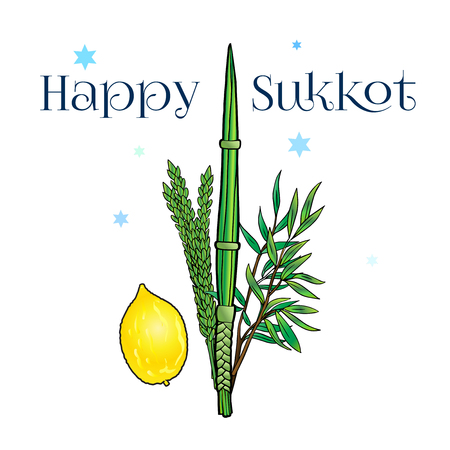 Happy Sukkot greeting card with traditional four species lulav, etrog for Jewish Holiday Sukkot. Vector Illustration.