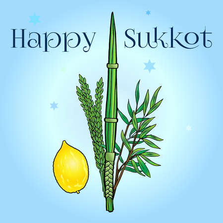 Happy Sukkot greeting card. Jewish traditional four species lulav, etrog on blue sky  with David stars. . Jewish Holiday Succot. Sukkah. Rosh Hashana. Painting Ilustração