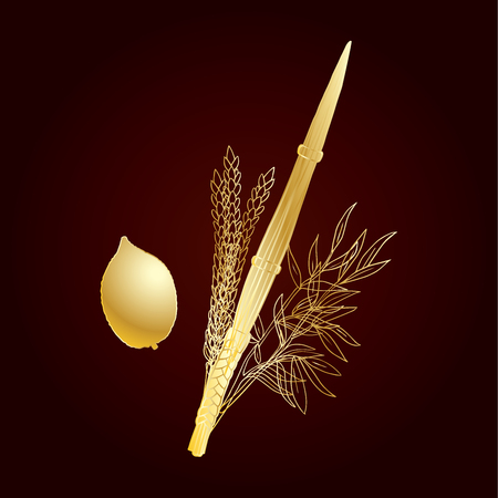 Happy Sukkot four species gold embroidery. Jewish traditional four species lulav, etrog.  Holiday Jewish new year. Autumn Fest. Rosh Hashanah Israel Sukkah