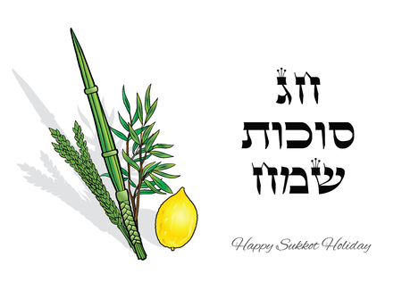 Happy Sukkot. Hebrew translate: Happy Sukkot Holiday. Jewish traditional four species lulav, etrog for Jewish Holiday Sukkot. Vector Jewish new year. Autumn Festival. Rosh Hashanah Israel Sukkah
