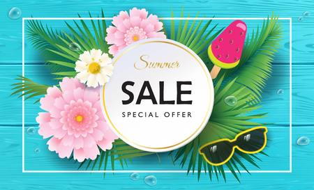 ice: Tropical Summer Sale background. Exotic beautiful flowers, ice cream watermelon, sunglasses, turquoise wood board, wooden texture. Top view, trendy 3D design, vector banner template.