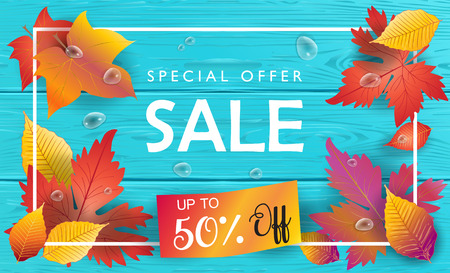 Autumn Sales. Sale discount wallpaper, fall poster with Autumn maple leaves, ribbon banner, turquoise wood background vector template. Thanksgiving gift card, advertising, voucher design. Vintage