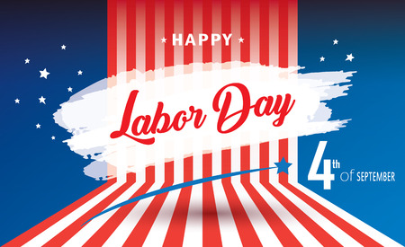 Labor Day congratulations card, Patriotic poster, American flag color vector template.