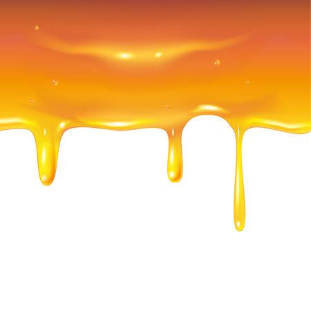 Éclaboussures de miel dégoulinant, gouttes sucrées de nid d'abeilles d'abeille isolé sur fond blanc. Affiche pour la publicité apiculture honey shop ou boulangerie avec place pour le texte. Illustration réaliste de vecteur de laisser tomber le sirop de miel. Vecteurs