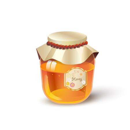 Pot de verre à miel, pot de miel à l'abeille. Illustration vectorielle pour la publicité au miel, au magasin de miel ou à la boulangerie.