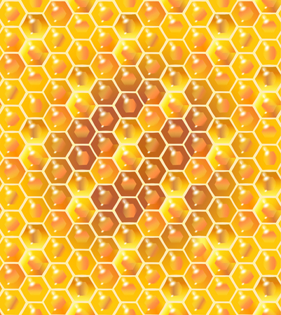 golden apple: Honey vector. Honeycomb realistic seamless pattern. Bee honey background, 3D design Illustration