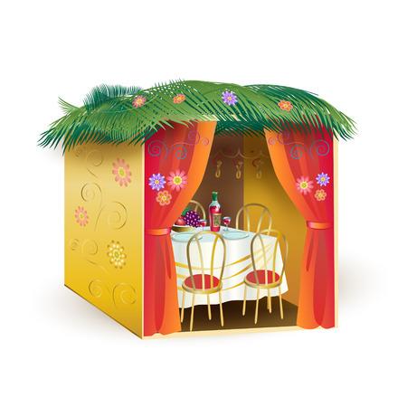 Sukkah for Sukkot Greeting card. Sukkah, lulav and etrog, apple, pomegranate, flowers, palm leaves frame. Israel Jewish Holiday Rosh hashanah, sukkot, symbols vector illustration Vettoriali