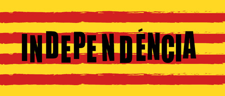Catalonia Independence Day Text poster Yellow and red Catalonia national flag color background vector. Brush grunge texture. Ilustrace