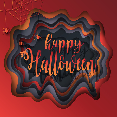 Cut Paper Happy Halloween Festive Abstract Background, Greeting Card, 3D  Paper Art Frame,