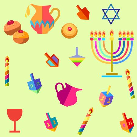 Chanukah symbol icons.
