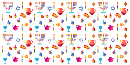 Chanukah symbols pattern. Illustration