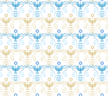 Jewish holiday Hanukkah seamless ornamental pattern with traditional Chanukah symbols - menorah, candles, star of David, festive decoration. Vector template