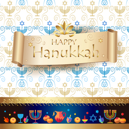 Jewish holiday Hanukkah greeting card background with traditional Chanukah symbols - wooden dreidels (spinning top), Hebrew letters, donuts, menorah candles, oil jar, star of David and glowing lights, vintage ribbon banner, ornamental pattern. Vector template