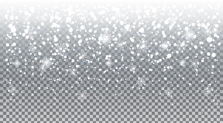 현실적인 떨어지는 눈송이. 하얀 눈 오버레이 투명 효과, 휴일 배경으로 분리하십시오. 크리스마스 눈보라 및 눈송이, 스노우 캡, 눈 산. 겨울 눈 덮인 풍경 벡터 일러스트 레이 션