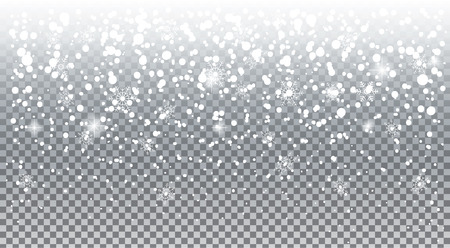 Flocons de neige chute réaliste. Superposition de neige blanche isolée avec effet transparent, fond de vacances. Noël neige et flocons de neige, bonnet de neige, montagne de neige. Paysage d'hiver enneigé illustration vectorielle